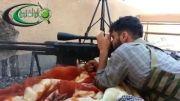 تک تیرانداز تروریست و گلوله تانک ارتش سوریه