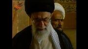 آیت الله حائری و مقام معظم رهبری در آرامگاه سعدی
