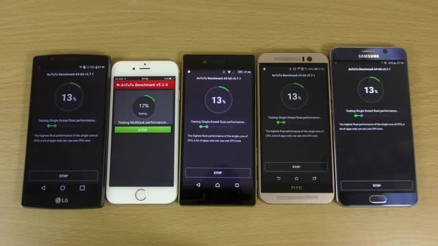 Xperia Z5 vs Note 5 vs iPhone 6s vs G4 vs HTC M9_Antutu
