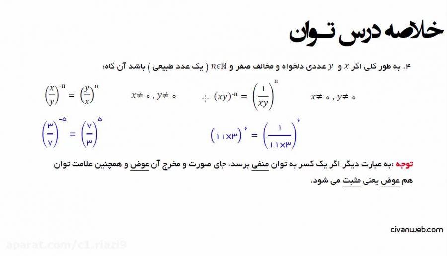 فصل 4 ریاضی نهم نکات کلیدی از توان صحیح و نماد علمی (1)