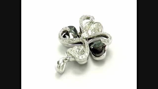 مدال نقره طرح قلب نگین یاقوت اتمی زنانه - کد 5192