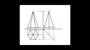 تصویر سه نمای یک هرم شش ضلعی منتظم