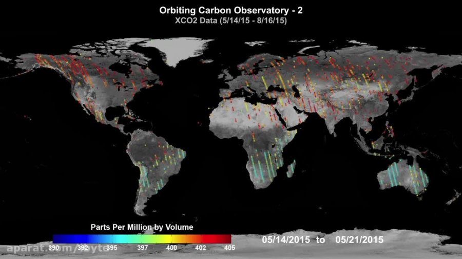 نمایشی از انتشار کربن در زمین در مدت سه ماه