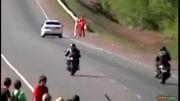 تصادف شدید موتورسوار با خودرو