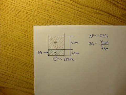 مکانیک سیالات - 10 - فشار استاتیکی، مثال 1