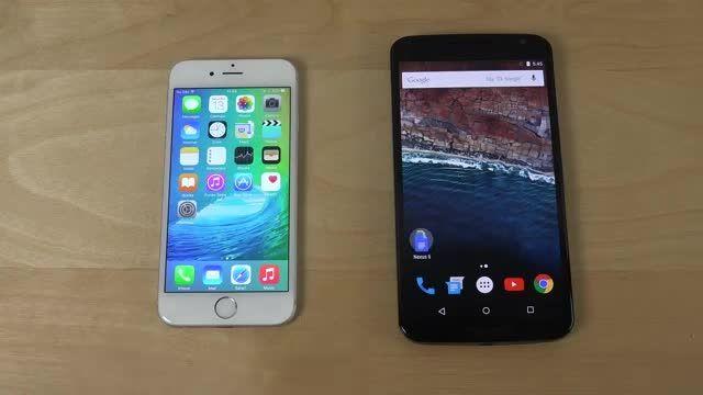 تست سرعت آیفون ۶ با iOS 9 و نکسوس ۶ با اندروید M