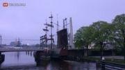 برخورد کشتی با کابل برق در عبور از پل...