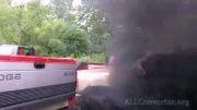 مردم آزاری خنده دار با دود اگزوز ماشین...