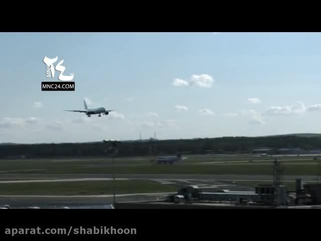 فرود عجیب یک هواپیما در فرودگاه فرانکفورت آلمان