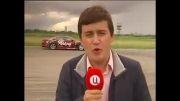 حادثه وحشتناک برای خبرنگار در حرکات نمایشی ماشینها...