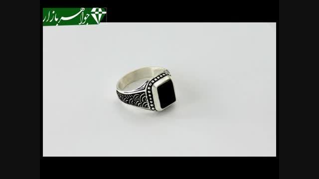 انگشتر عقیق سیاه طرح سیاه قلم - کد 6902