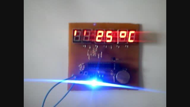 ساعت (RTC)  با تقویم و دماسنج دارای قابلیّت نمایش دمای