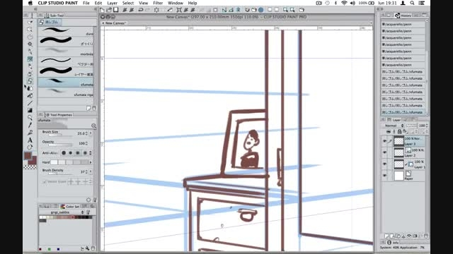 نقاشی مانگا 22 آموزش نرم افزار clip studio paint