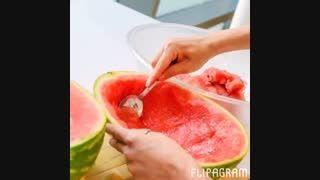 آموزش تصویری درست کردن ژله به شکل هندوانه