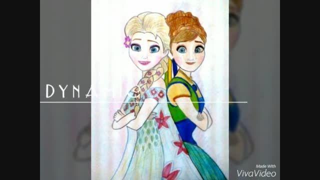 نقاشی من از السا و آنا برای مسابقه