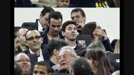 لیونل مسی تماشاگر بازی بارسا و رایو در نیوکمپ