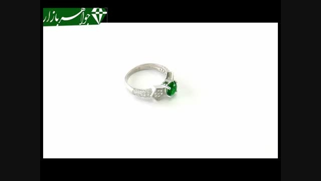 انگشتر نقره نگین سبز خوش رنگ زنانه - کد 6780