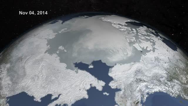 بررسی تغییرات یخهای قطب شمال از فضا