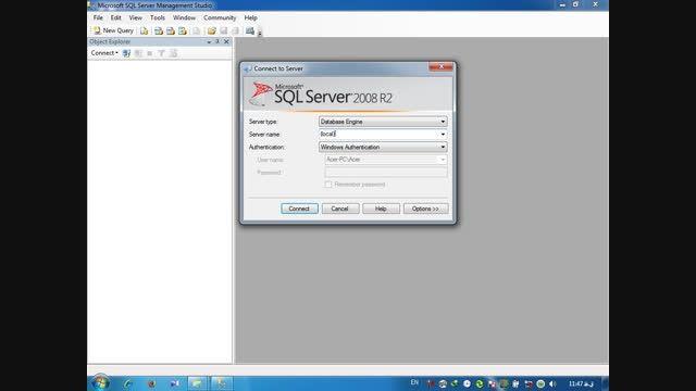 ایجاد بانك اطلاعاتی در sqlServer