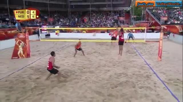حرکت زیبای بازیکنان والیبال ساحلی هلند در قهرمانی جهان