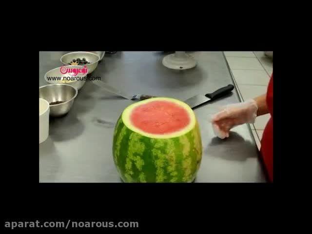 تزیین کیک هندوانه مخصوص شب یلدا
