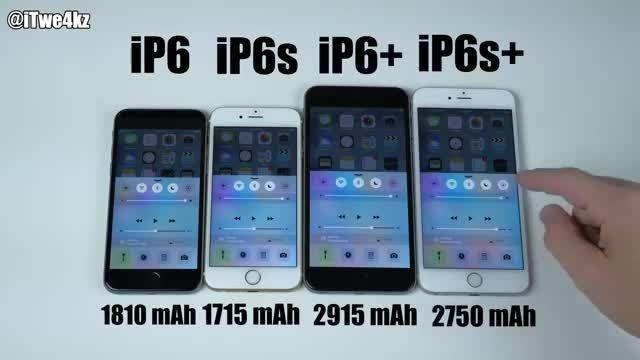 مقایسه باتری ایفون 6,6s,6 plus,6s plusبا پخش ویدیو