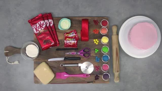 Skittles Rainbow Cake! How to make a Skittles