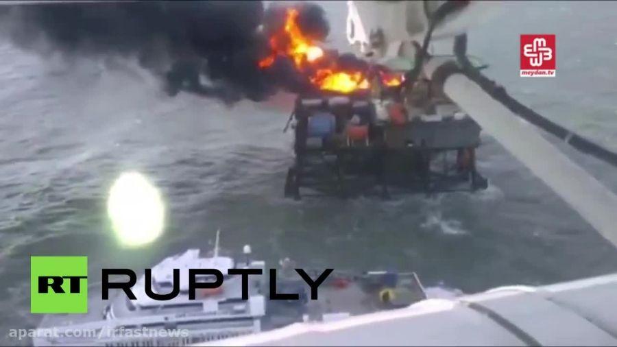 آتش گرفتن سکوی نفتی آذربایجان در دریای خزر
