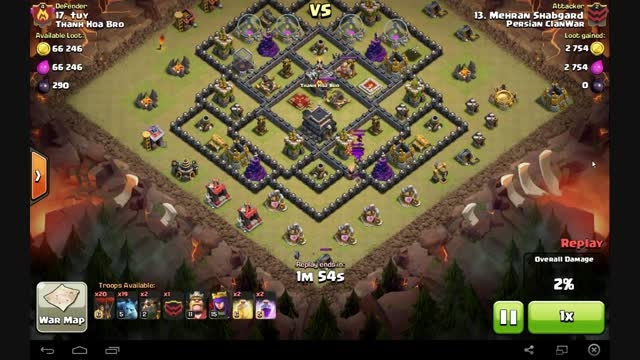 clash of clans 3 star attack town hall 9-Lavaloonion