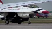 پارک هواپیمای اف-16 توسط خلبان زن