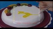 Roozmenu.com - آموزش طراحی آهو روی کیک با Piping Jel