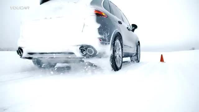 پورشه Cayenne Turbo S - شتاب گیری در برف