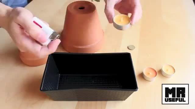 درست کردن هیتر به کمک،گلدان و شمع