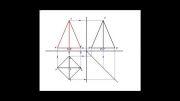 تصویر سه نمای یک هرم چهار ضلعی منتظم