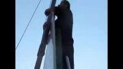 گزارش تصویری از نصب پایه پرچم یاابوالفضل