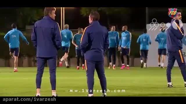 لیونل مسی در تمرینات گروهی تیم فوتبال بارسلونا