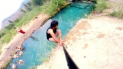 دوای گرمای تابستون با یه چشمه آب زلال خنک تو دل کوه . .
