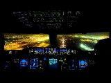 فرود ایرباس A380 در فرودگاه دبی در شب