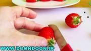 تزئین توت فرنگی به شکل قو
