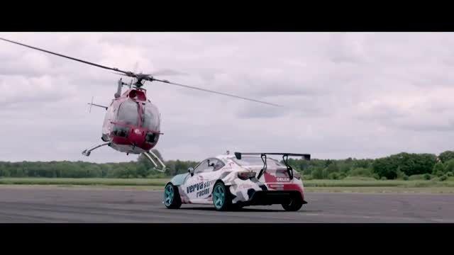 دریفت شگفت انگیز ماشین و هلیکوپتر