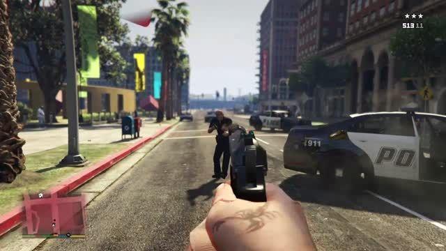 گیم پلی GTA V در حالت اول شخص در PS4 خودم.