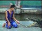 خوردن دست مربی تمساح توسط تمساح....