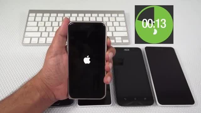 تست سرعت روشن شدن بین گوشی های iPhone Galaxy Lumia