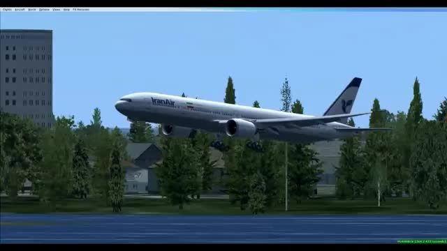 فرود بوئینگ 777 در فرودگاه کندی شبیه ساز الماس