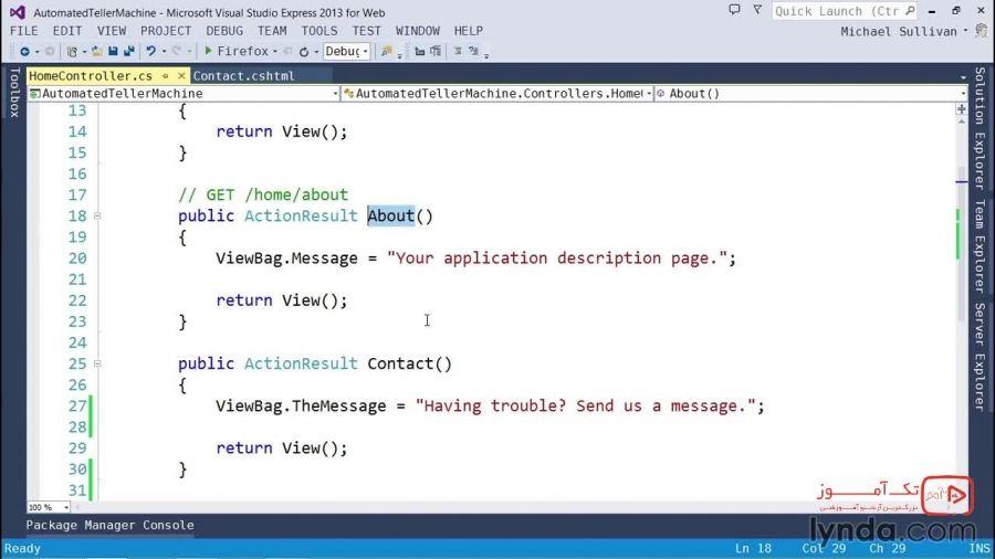 آموزش ASP.NET MVC 5 : استفاده از انتخابگر عملگر