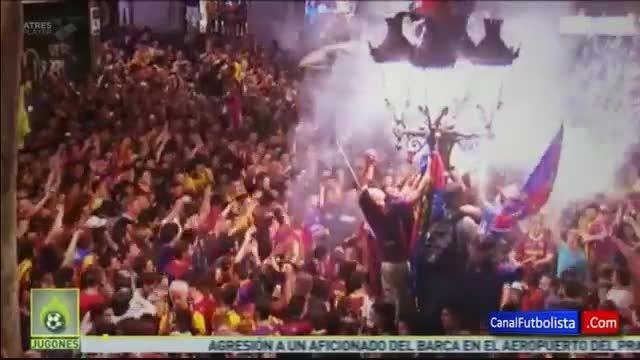 جشن و پایکوبی هواداران بارسلونا بعد از قهرمانی لالیگا
