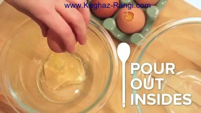 پخت کیک داخل تخم مرغ