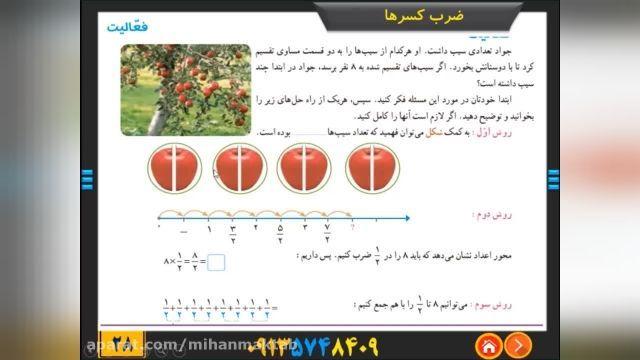 آموزش رایگان ریاضی پایه ششم - فصل 2- کسر - درس دوم