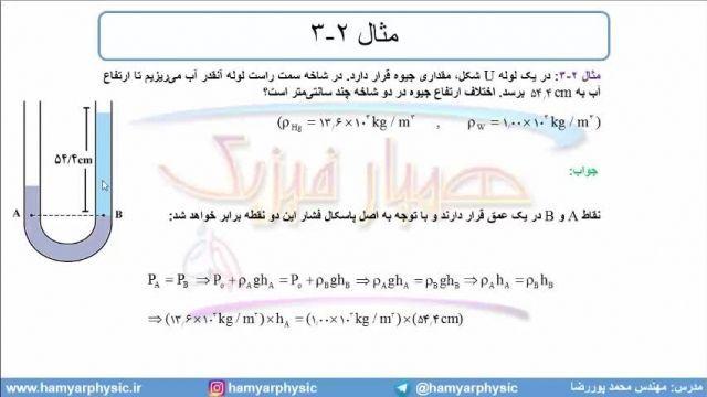 جلسه 71 فیزیک دهم - فشار در شارهها 3 و لوله U  شکل - مدرس محمد پوررضا
