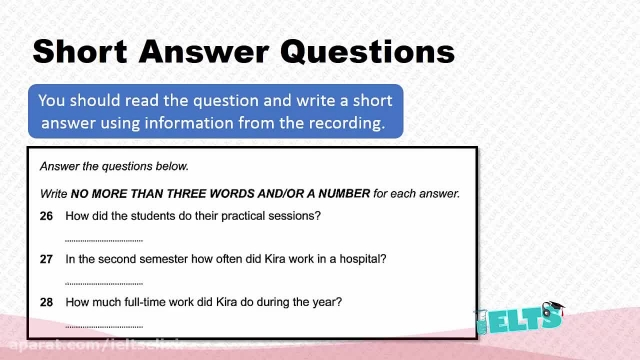 دانلود رایگان دوره کامل آموزش IELTS - لیسنینگ - سوالات ( Short Answer 2)